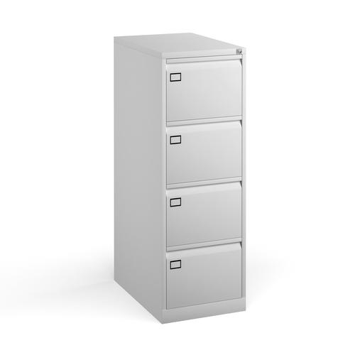 Steel 4 drawer executive filing cabinet 1321mm high - white
