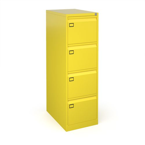 Steel 4 drawer executive filing cabinet 1321mm high - yellow
