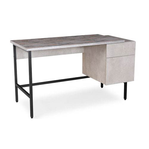 Delphi home office workstation with integrated pedestal – Concrete grey with black frame