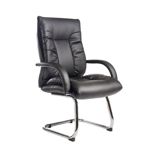 Derby high back visitors chair - black faux leather