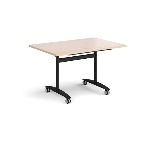 Rectangular deluxe fliptop meeting table with black frame 1200mm x 800mm - maple