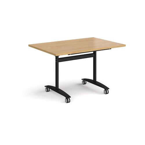 Rectangular deluxe fliptop meeting table with black frame 1200mm x 800mm - oak