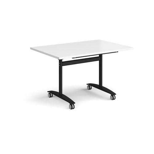 Rectangular deluxe fliptop meeting table with black frame 1200mm x 800mm - white