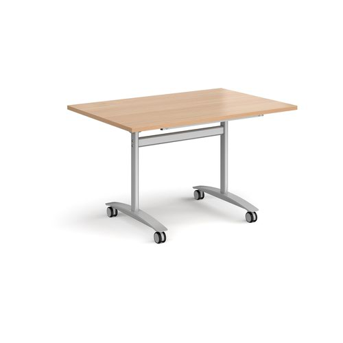 Rectangular deluxe fliptop meeting table with silver frame 1200mm x 800mm - beech