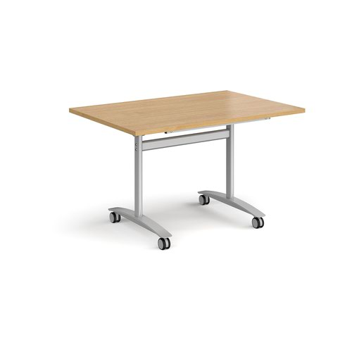 Rectangular deluxe fliptop meeting table with silver frame 1200mm x 800mm - oak