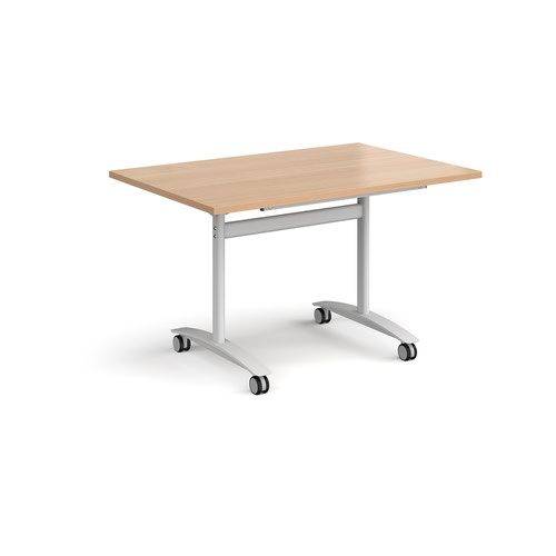 Rectangular deluxe fliptop meeting table with white frame 1200mm x 800mm - beech
