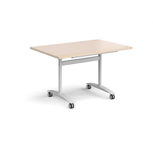 Rectangular deluxe fliptop meeting table with white frame 1200mm x 800mm - maple