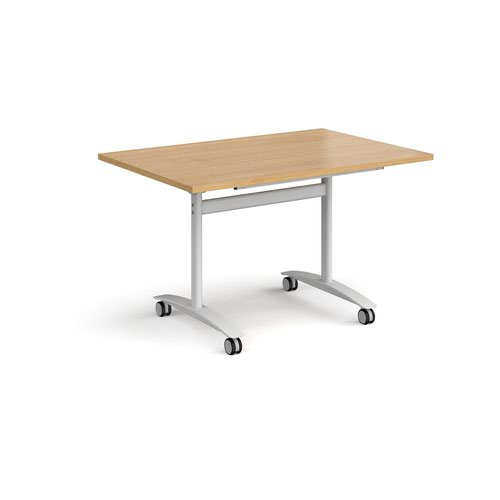 Rectangular deluxe fliptop meeting table with white frame 1200mm x 800mm - oak