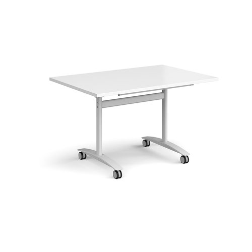 Rectangular deluxe fliptop meeting table with white frame 1200mm x 800mm - white