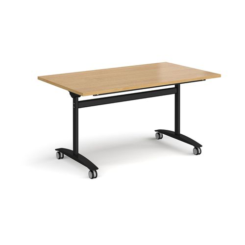 Rectangular deluxe fliptop meeting table with black frame 1400mm x 800mm - oak