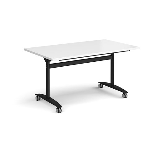 Rectangular deluxe fliptop meeting table with black frame 1400mm x 800mm - white