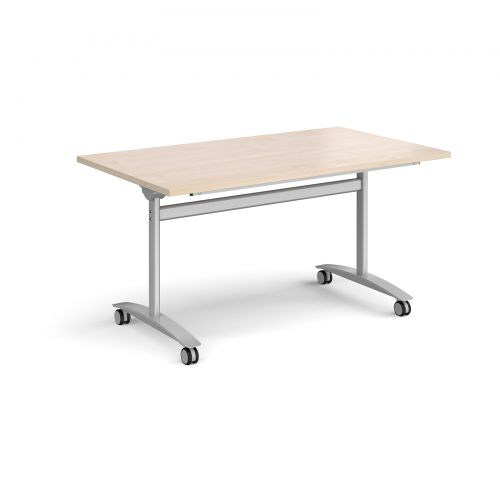 Rectangular deluxe fliptop meeting table with silver frame 1400mm x 800mm - maple