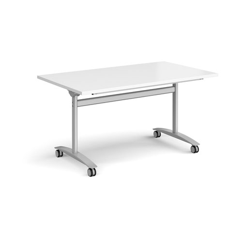Rectangular deluxe fliptop meeting table with silver frame 1400mm x 800mm - white