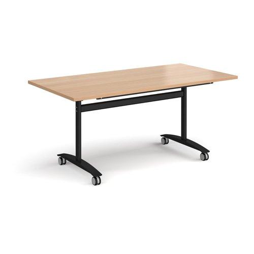 Rectangular deluxe fliptop meeting table with black frame 1600mm x 800mm - beech