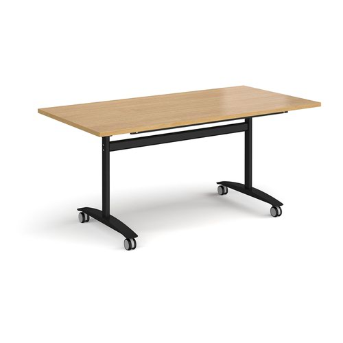 Rectangular deluxe fliptop meeting table with black frame 1600mm x 800mm - oak