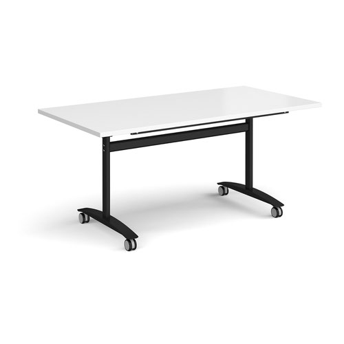 Rectangular deluxe fliptop meeting table with black frame 1600mm x 800mm - white
