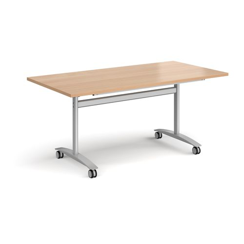 Rectangular deluxe fliptop meeting table with silver frame 1600mm x 800mm - beech
