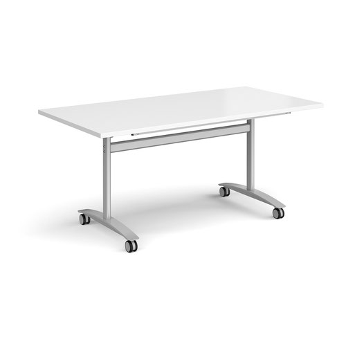 Rectangular deluxe fliptop meeting table with silver frame 1600mm x 800mm - white