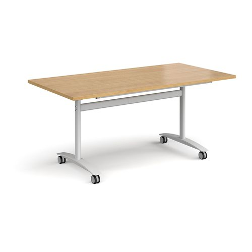Rectangular deluxe fliptop meeting table with white frame 1600mm x 800mm - oak