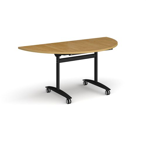 Semi circular deluxe fliptop meeting table with black frame 1600mm x 800mm - oak