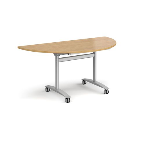 Semi circular deluxe fliptop meeting table with silver frame 1600mm x 800mm - oak