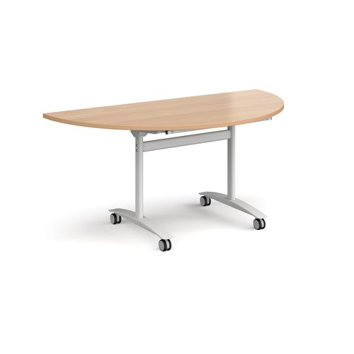 Semi circular deluxe fliptop meeting table with white frame 1600mm x 800mm - beech