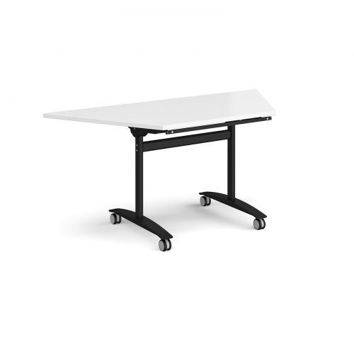 Trapezoidal deluxe fliptop meeting table with black frame 1600mm x 800mm - white