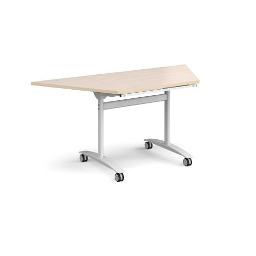 Trapezoidal deluxe fliptop meeting table with white frame 1600mm x 800mm - maple