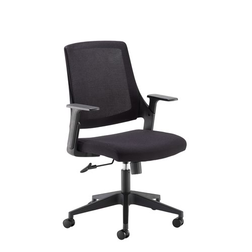 Duffy black mesh back operator chair with black fabric seat and chrome/black base