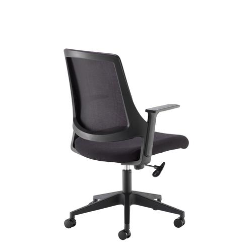 Duffy black mesh back operator chair with black fabric seat and chrome/black base by Dams International, CHA2139