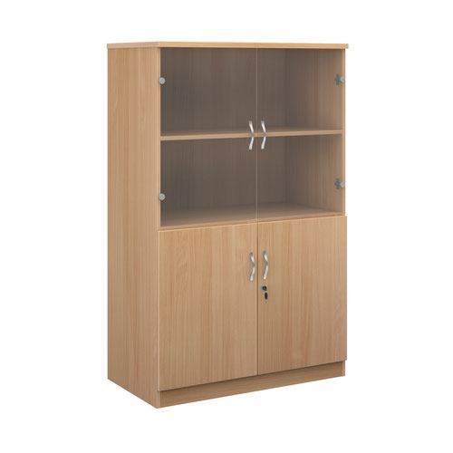 Deluxe combination unit with glass upper doors 1600mm high with 3 shelves - beech