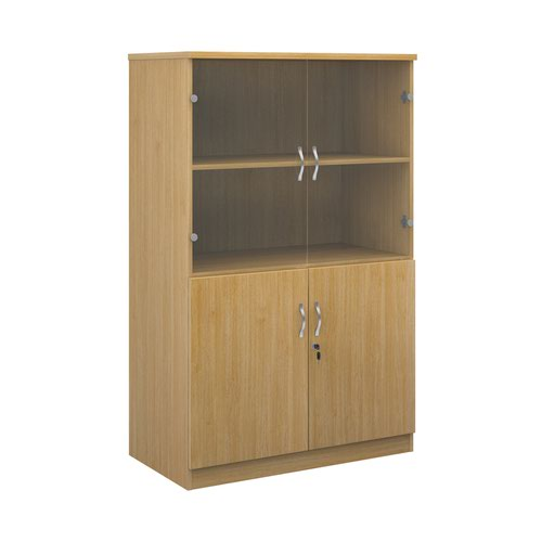Deluxe combination unit with glass upper doors 1600mm high with 3 shelves - oak