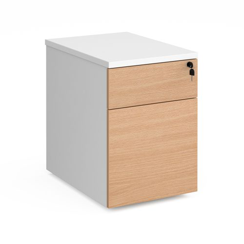Duo 2 drawer mobile pedestal 600mm deep - white with beech drawers