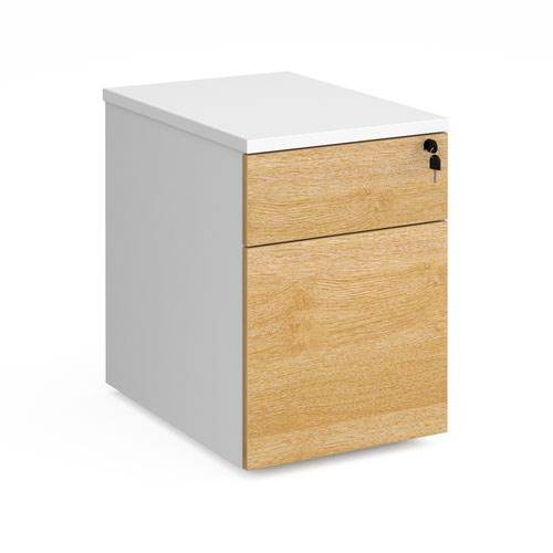 Duo 2 drawer mobile pedestal 600mm deep - white with oak drawers