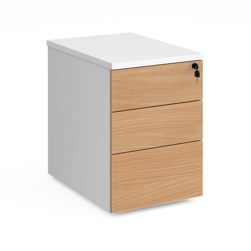 Duo 3 drawer mobile pedestal 600mm deep - white with beech drawers