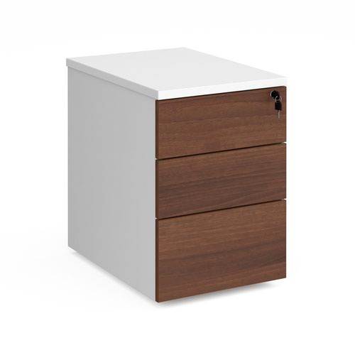 Duo 3 drawer mobile pedestal 600mm deep - white with walnut drawers