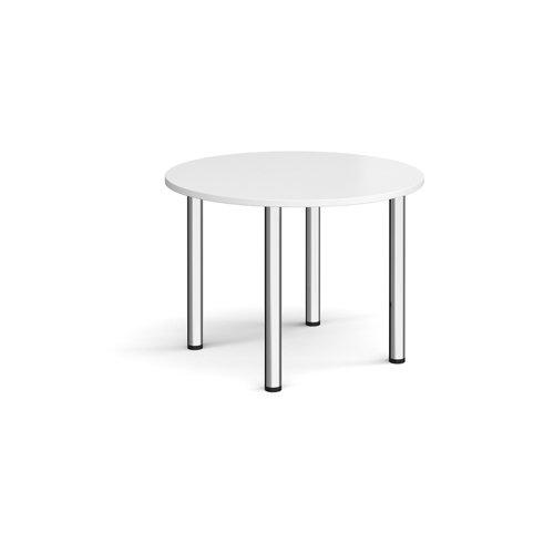 Circular chrome radial leg meeting table 1000mm - white