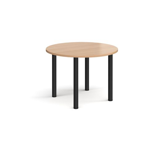 Circular black radial leg meeting table 1000mm - beech