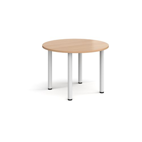 Circular white radial leg meeting table 1000mm - beech