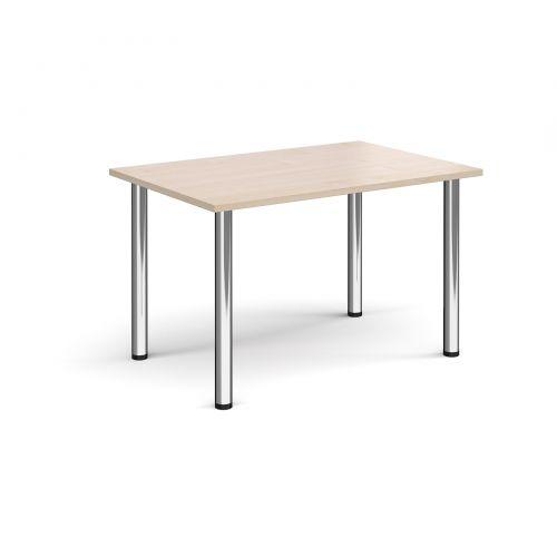 Rectangular chrome radial leg meeting table 1200mm x 800mm - maple