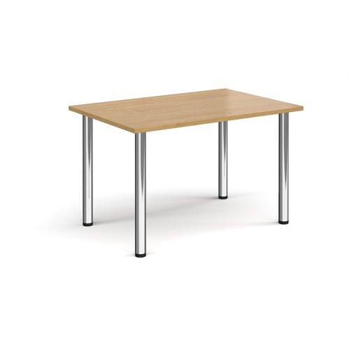 Rectangular chrome radial leg meeting table 1200mm x 800mm - oak