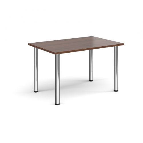 Rectangular chrome radial leg meeting table 1200mm x 800mm - walnut