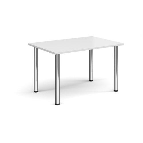 Rectangular chrome radial leg meeting table 1200mm x 800mm - white
