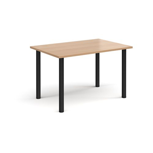 Rectangular black radial leg meeting table 1200mm x 800mm - beech