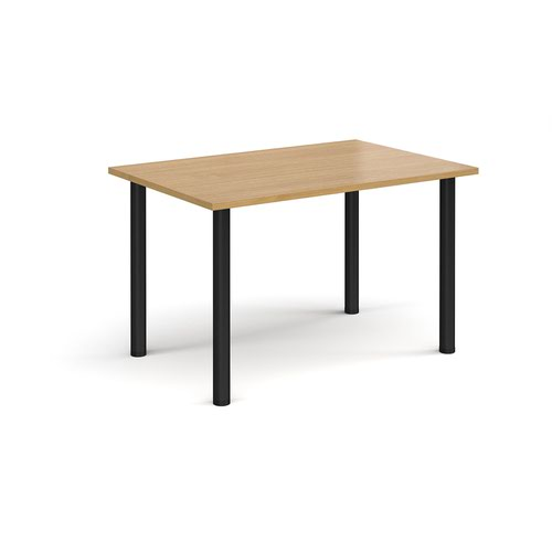 Rectangular black radial leg meeting table 1200mm x 800mm - oak
