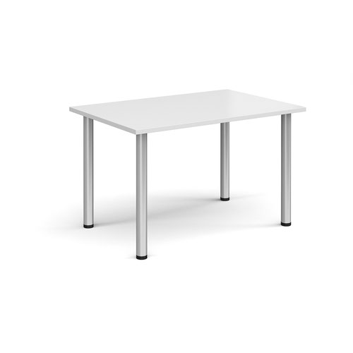 Rectangular silver radial leg meeting table 1200mm x 800mm - white