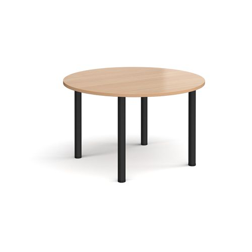 Circular black radial leg meeting table 1200mm - beech