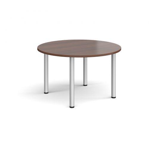 Circular silver radial leg meeting table 1200mm - walnut