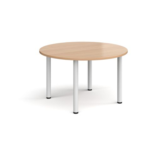 Circular white radial leg meeting table 1200mm - beech