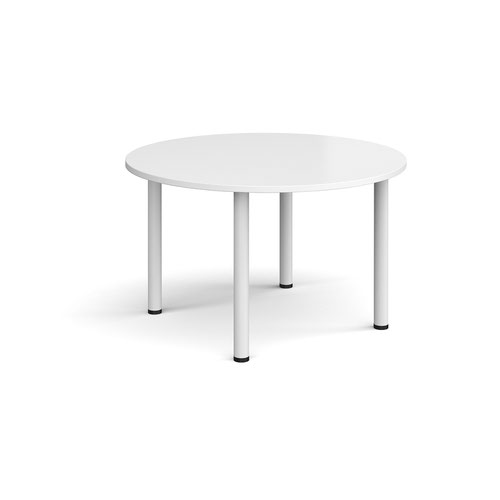 Circular white radial leg meeting table 1200mm - white